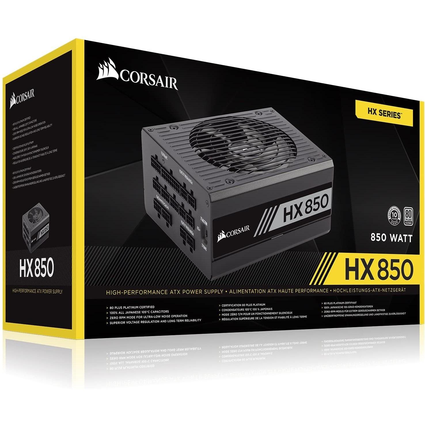 منبع تغذیه کامپیوتر کورسیر مدل HX850 850W Platinum Fully Modular