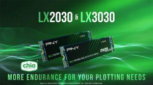 pny نسل سوم اس اس دی های M.2 MVMe مدل LX2030 و LX3030 تایید شده برای پلات (XCH) رمز ارز CHIA را تولید کرده است.