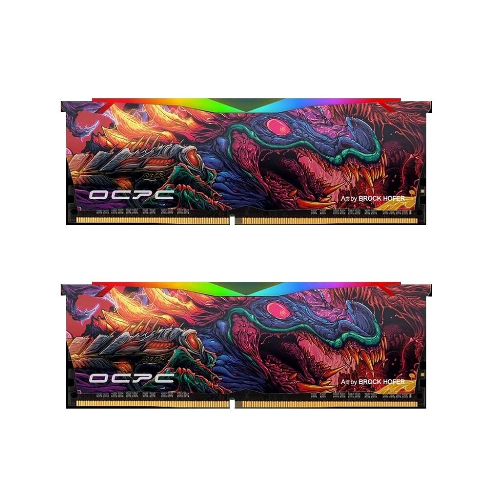 رم دسکتاپ OCPC X3 RGB BEAST DDR4 3200MHz 16GB (8GBx2) CL16 Dual Desktop RAM